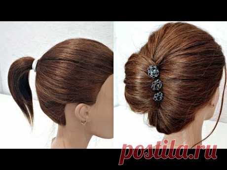 Быстрый валик из Хвоста на Короткие волосы. БЫСТРЫЕ ПРИЧЕСКИ. Ponytail Fast Hairstyle on Short hair