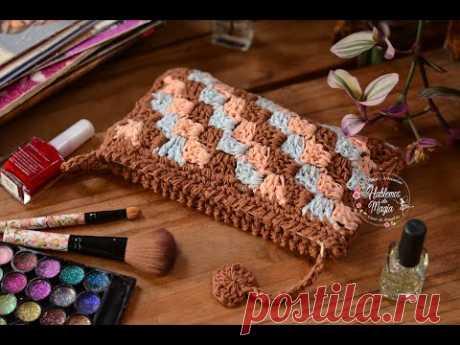 Вязаный кошелек (Дело в C2C) Пошаговое вязание крючком.