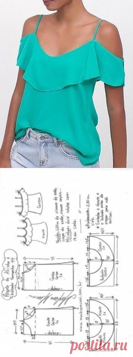 Выкройка блузки с открытыми плечами и воланом (Шитье и крой) — Журнал Вдохновение Рукодельницы