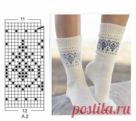 Женские белые носки с жаккардовым узором