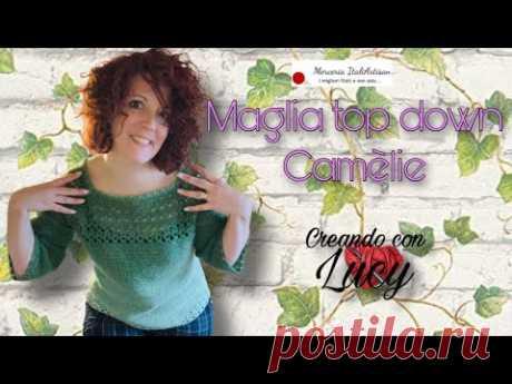 UNCINETTO Maglia Camèlie ,top down facilissimo anche per principianti
