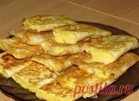 QUICK BREAKFAST. \u000d\u000a\u000d\u000aINGREDIENTS:\u000d\u000a Armenian unleavened wheat cake\u000d\u000a Cheese\u000d\u000a Egg\u000d\u000a\u000d\u000aPREPARATION:\u000d\u000aTo cut an unleavened wheat cake on cross strips. To slice cheese not more widely than unleavened wheat cake ribbons so that approximately twice to wrap up it. To shake up eggs a fork, to salt a little (it is possible to add a pinch of favourite spices). To wrap up each slice of cheese an unleavened wheat cake strip, to dip into egg and to fry for 3-5 minutes from two parties on a frying pan with oil. Are fried very quickly. To put finished products on a dish and at once having given...