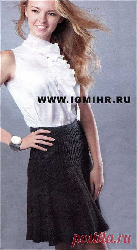 Черная юбка на кокетке и с клиньями.