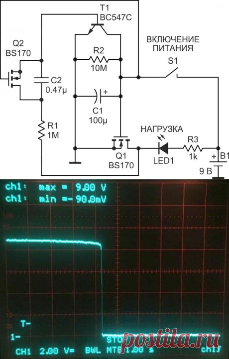 Таймер автоматического отключения питания на дискретных компонентах. Поведение схемы при отключении иллюстрирует осциллограмма напряжения на нагрузке, представленная на Рисунке 2. Обратите внимание, что потери напряжения во включенном состоянии незначительны, за исключением небольшого падения в последние несколько секунд из 25 минут включенного состояния. Как только начинает действовать петля обратной связи, происходит мгновенное отключение.