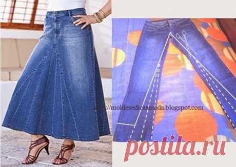 Calça jeans reciclada com desenho da transformação