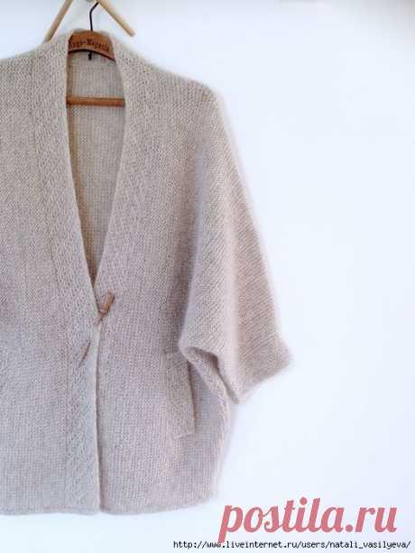 Вязаный жакет кимоно Birch спицами из мохера