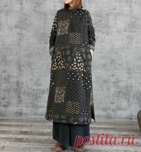 Cotton linen maxi Dresses, Winter plus velvet Loose dress, Women's robes 【Fabric】 Cotton, linen 【Color】 black 【Size】 Shoulder width 38cm / 15 Bust 106cm / 41 Sleeve 52cm / 20 Length 119cm / 46    Have any questions please contact me and I will be happy to help you.