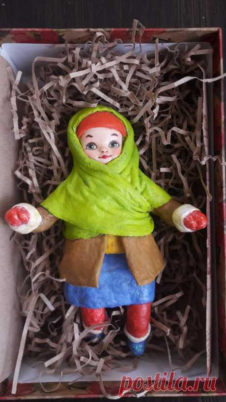 Ёлочные игрушки по старинной технологии! Вата и клейстер. 13- 15 см. Личико выполнено из самозастывающей глины. Роспись куколки выполнена вручную акриловыми и акварельными красками, покрыта лаком. @boikodoll