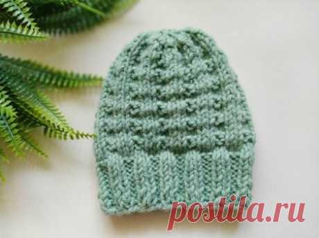Очень мягкая и теплая шапка спицами узором «вафельки» » «Хомяк55» - всё о вязании спицами и крючком