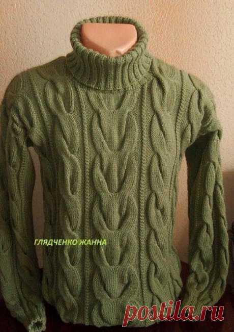 КАК СВЯЗАТЬ  Мужской свитер с косами вязаный спицами с описанием. Размеры: S/M/L/XL/XXL.  Вам потребуется: 950/1050/1100/ 1200/1250 г зелёной пряжи Bergere de France Magic+ (50% шерсти, 50% акрила, 80 м/50 г); спицы № 5 и № 6.  Резинка 2/2: попеременно 2 лиц., 2 изн. Лицевая гладь: лиц. р. - лиц. п., изн. р. - изн. п. Изнаночная гладь: лиц. р. - изн. п., изн. р. - лиц. п.  Фантазийная резинка (ширина 9 п.): вязать по схеме. Выполнить 1 раз с 1-го по 4-й р., затем повторять...