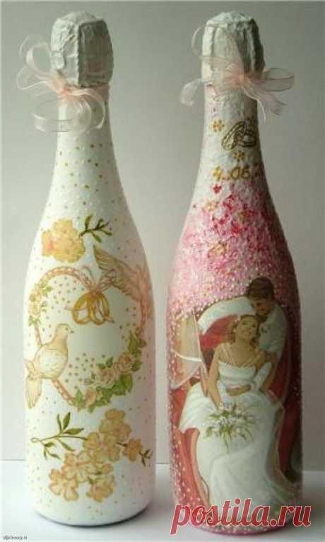 Декупаж бутылок салфетками, рисовой бумагой, колготками (69 фото)