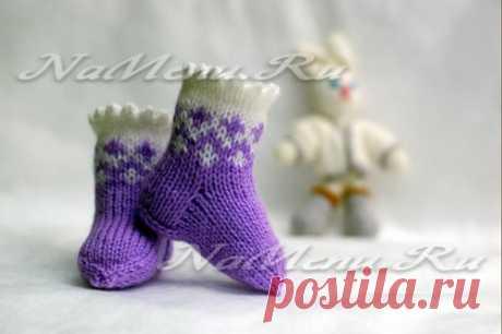 Носочки для новорожденных спицами, схемы от 0 до 2 месяцев
