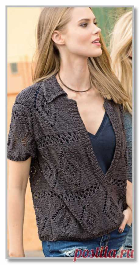 Knitting by spokes. The description of female model with the scheme and a pattern. A direct pullover with deep cut polo. Sizes: 38–42