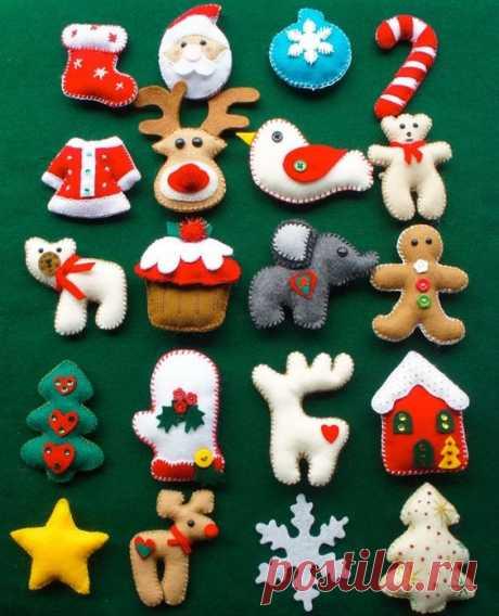 Новогодние игрушки из фетра: выкройки