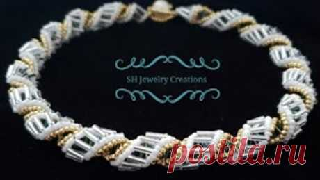 How to make a Beaded Twisted Necklace. Beading tutorials. Beads Jewelry Making.