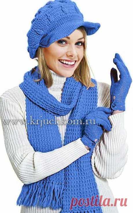 Женская вязаная кепка и шарф