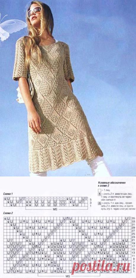 Винтажное платье Аванти с ажурными ромбами и каймой спицами – схемы с описанием - Пошивчик одежды