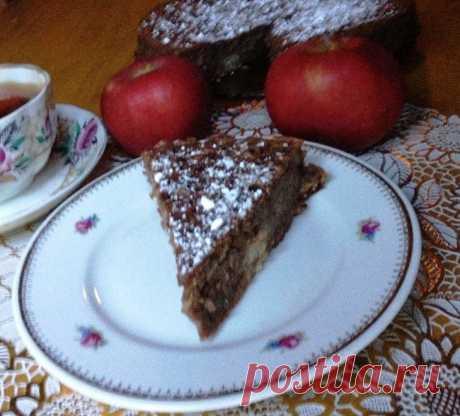 """Яблочно-шоколадный пирог """"Удовольствие"""" (типа брауни, с тертыми яблоками)"""