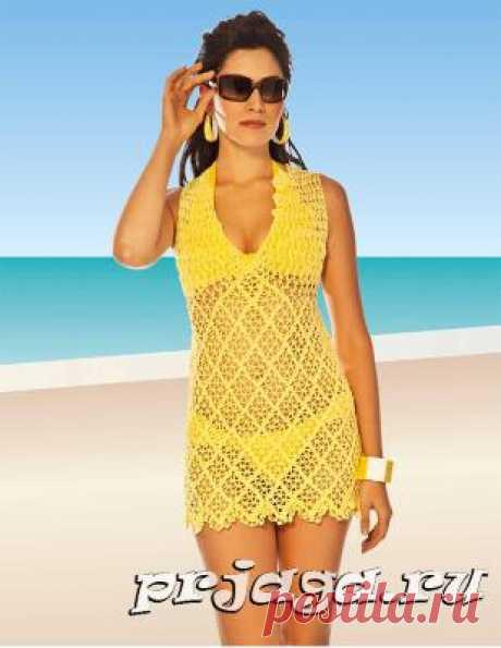 Желтая пляжная туника крючком