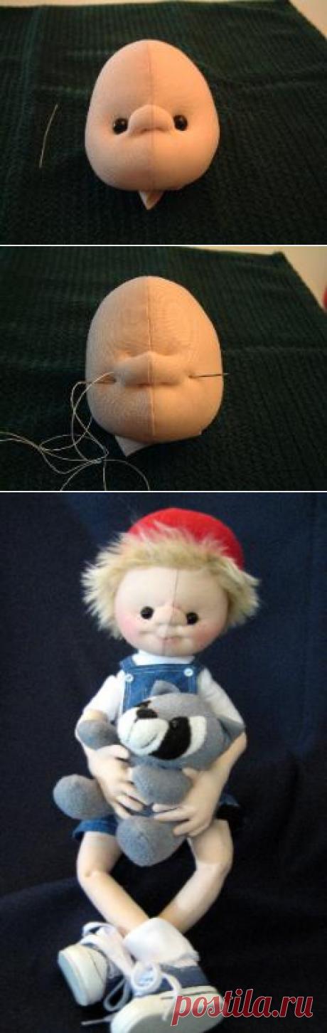 утяжка лица текстильной кукле