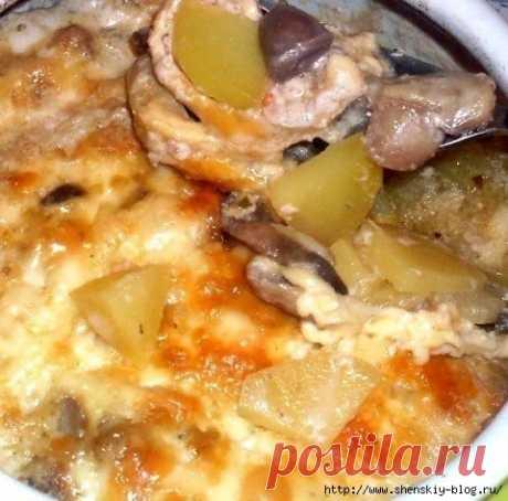 Жаркое из сердечек с грибами в горшочке - быстрый и вкусный ужин!