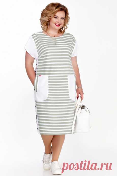 Платье Pretty, хаки + белый (модель 725) — Белорусский трикотаж в интернет-магазине Mirtrik