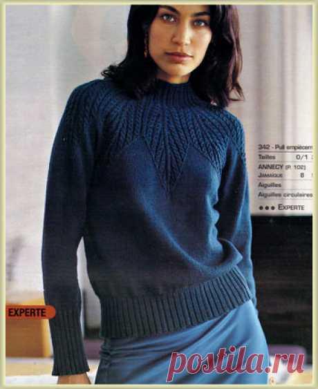 Синий свитер с круглой кокеткой