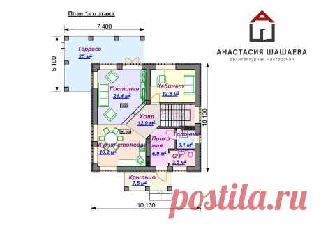 Проект дома с мансардой и террасой – К-97-2 – Проект дома