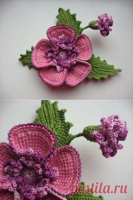 Брошь-цветок крючком — Три Руки ком