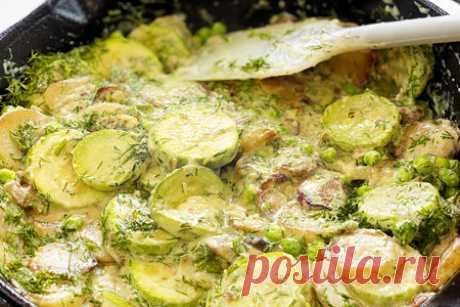 Кабачки с картошкой, горошком в сливочном соусе – пошаговый рецепт с фотографиями