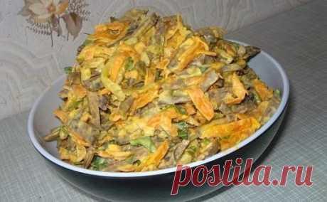 Печеночный салат Этот печеночный салат понравиться всем без исключения. Будут есть даже те, кто не очень любит печень. Ну очень он вкусный! Рецепт на сайте: https://namenu.ru/9872/Salat_iz_pecheni_s_morkovkoj/
