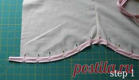 Обработка криволинейного низа изделия косой бейкой — Сделай сам, идеи для творчества - DIY Ideas