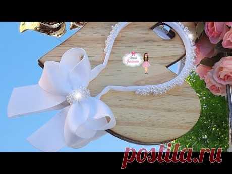 Tiara moño tik tok para batizado ou daminha na fita número 9/ um luxo/by mimos da gerlucia - YouTube