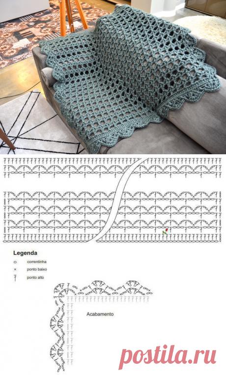 Простой и красивый ажурный плед крюком — Сделай сам, идеи для творчества - DIY Ideas
