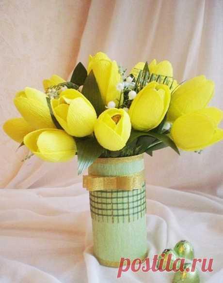 Тюльпаны. Букет из конфет маме на 8 марта. Мастер-класс