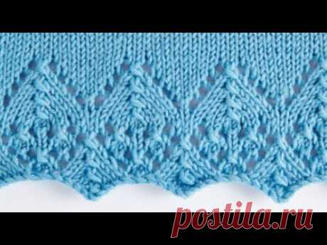 Вяжем спицами. Кайма для вязания платья, ажурного топа, свитера.  Кайма для начала изделия.