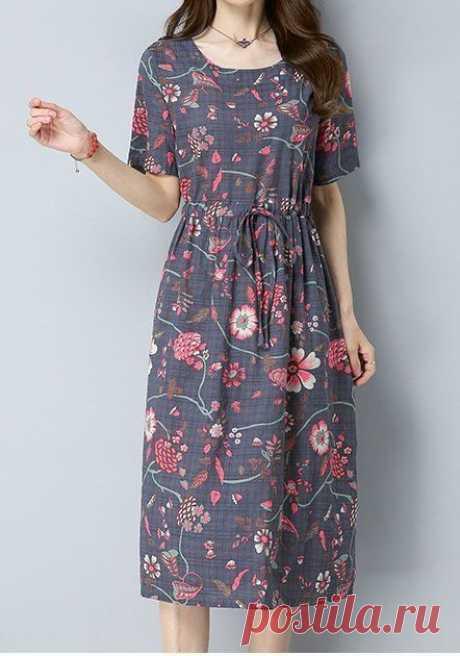 Женщин свободного покроя плюс размер ретро цветок фигурист макси платье туника шик моды … – Женская мода