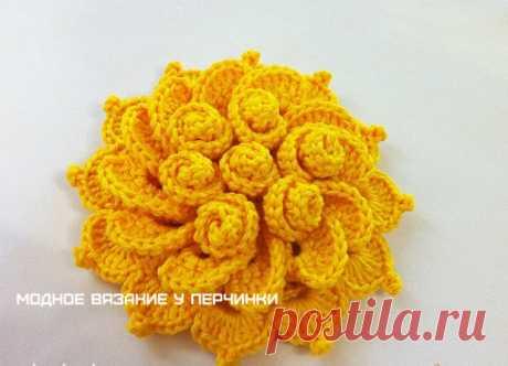 Объемный цветок крючком - мастер-класс - Crochet - Modnoe Vyazanie