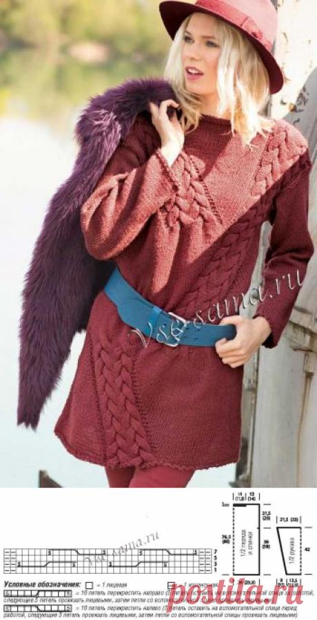 Удлиненный пуловер красно-коричневого цвета