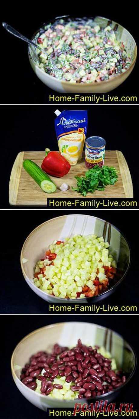 Салат с фасолью - пошаговый фоторецепт - бобово-овощной салат | Кулинарные рецепты