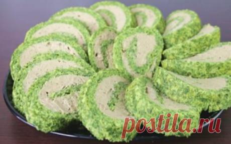 Самый красивый зеленый рулет из шпината и куриной печени