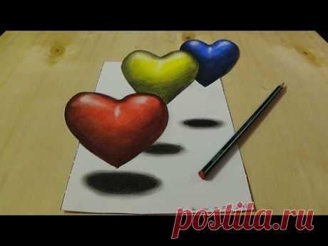 3D рисования и раскраски для детей, раскраски 3D Сердца