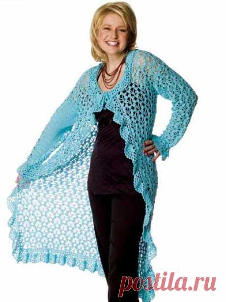 Вязание крючком Одежда - Вязаные куртки Шаблоны - Свежий Duster
