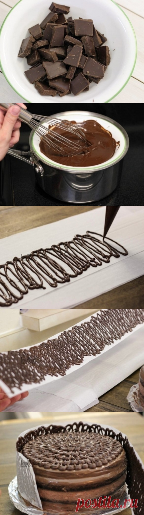 Как приготовить шоколадный заборчик для торта. - рецепт, ингредиенты и фотографии