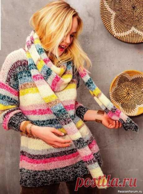 Удлиненный полосатый свитер и длинный шарф спицами Начинается новый сезон, значит, нужно связать что-то совсем новое, оригинальное, непривычное. Вот как этот разноцветный пуловер, который создает хорошее настроение даже в холодную зиму. Размеры: 34-36/38-40/42-44/46-48/50-52Описание моделиРазмеры: 34-36/38-40/42-44/46-48/50-52Вам...