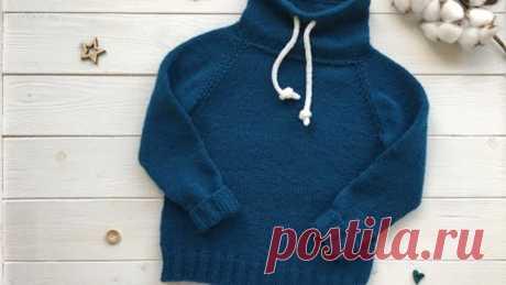 Детский свитер для мальчика спицами. Реглан сверху. Подробный мастер-класс (свитшот, худи).