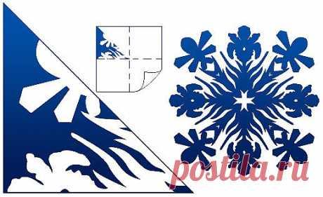 Схемы для вырезания снежинок из бумаги.