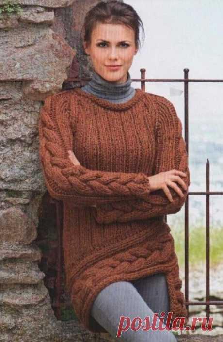 Асимметричный пуловер с косами | Пуловер, свитер, жакет.