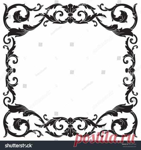 Стоковая векторная графика «Vintage Baroque Frame Scroll Ornament Engraving» (без лицензионных платежей), 337372163: Shutterstock