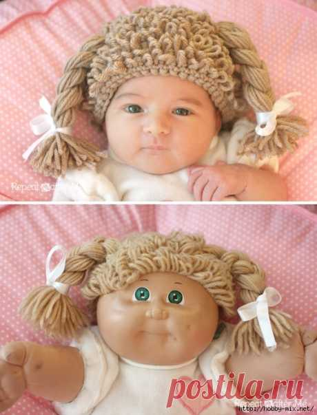 """Супер- шапка для девочки """"Кукла с косами"""" крючком."""